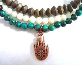 Henna Hand Yoga Bracelets, Set of 3 Bracelets, African Turquoise, Copper, White Howlite Beaded Bracelet Set