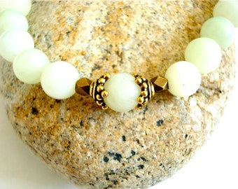 New Jade Meditation Bracelet, New Jade, Brass Beaded Bracelet