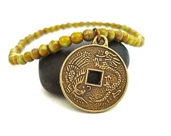 Chinese Coin Bracelet, Green Czech Glass and Brass Charm Yoga Bracelet