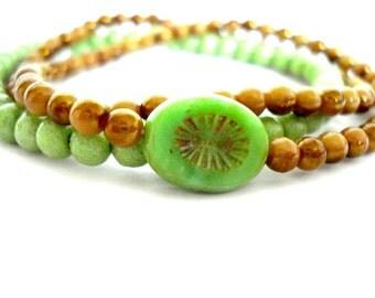 Czech Glass Bracelets, Set of 3 Yoga Bracelets, Green Czech Glass, Green Limestone Coral Beaded Bracelets