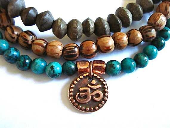 Ohm Yoga Bracelets, Set of 3, African Turquoise, Copper, and Mala Beads
