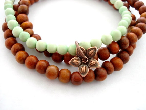 Green Turquoise Yoga Bracelet, Set of 3 With Copper Charm and Mala Beads
