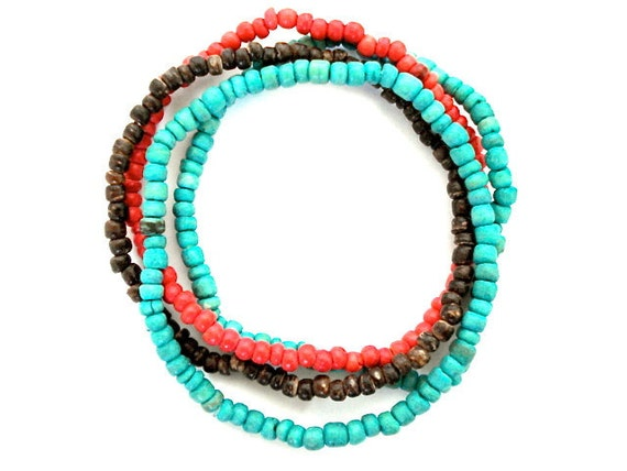 Wooden Beaded Bracelets, Set of 4 Coco Bead Bracelets, Red, Turquoise, Brown Stacking Bracelets