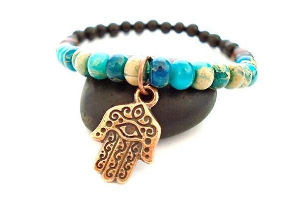 Hamsa Hand Bracelet, Aqua Jasper, Wooden Mala Bead Yoga Bracelet