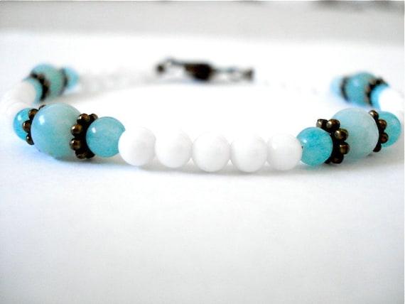 White Agate Yoga Bracelet, Agate, Amazonite, Brass Beaded Bracelet