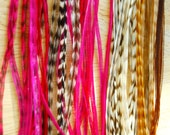 Pink Highlights  Long Hair Feather  Extension: 5 feathers 8 to 12 inches