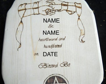 Reserved - Personalized woodburned handfasting announcement