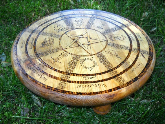 Woodburned Wheel of the Year mini table/altar