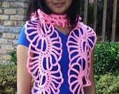 Hand-made Handcrochet Pink LACY Lady SCARF - PDF Crochet Pattern