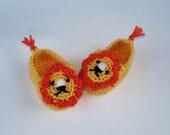 "Hamdmade  crochet  baby booties ""Lions""  sizes 0-3-6-12 month"