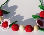 Hand crochet   Spring flower cherry Nursing Necklace Breastfeeding Babywearing  teething necklace