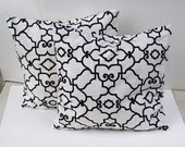 "Set of 2  Decorative Pillow Covers--Designer Fabric  -- 18x18 or 16 x 16 "" Black - whte"