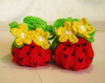 "Hand-knit  booties  ""watermelon"" (pdf pattern) -handmade -0-3-6-13 months"