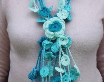 Hand Crochet scarf - necklase  (pdf pattern) - sizes 0-120 cm