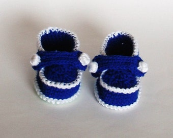 "Hand crochet baby booties ""Blue and white Moccasins"" sizes 0--6-12-18 month-pdf-pattern"