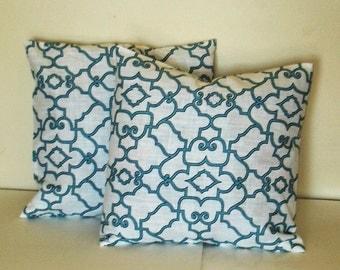 handmade   Decorative Pillow Cover--Designer Fabric -- 18x18 Blue and white