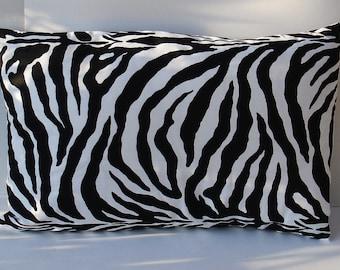 "Sale 30 % off Decorative Accent Pillow Cover in a Black & White Zebra Print   16 x 24 """