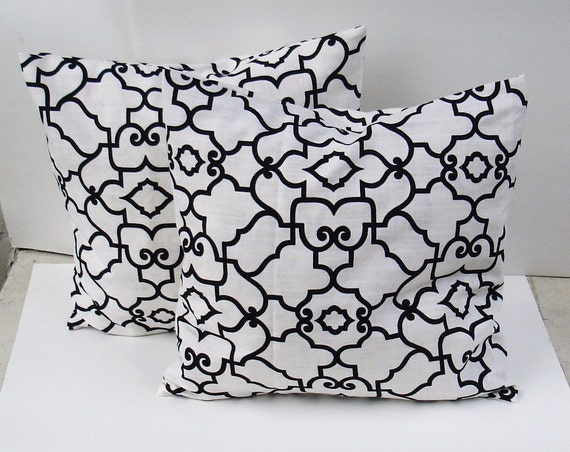 """Set of 2  Decorative Pillow Covers--Designer Fabric  -- 18x18 or 16 x 16 """" Black - whte"""