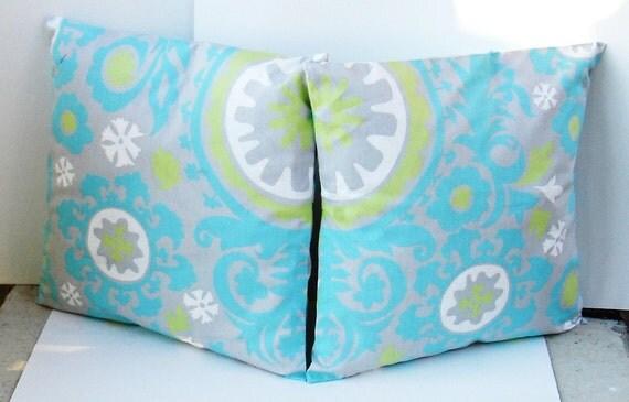 set of 2 Decorative Pillow Cover--Designer Fabric-- 16 x 16- inches Premier Prints Suzani Twill Harmony/Green