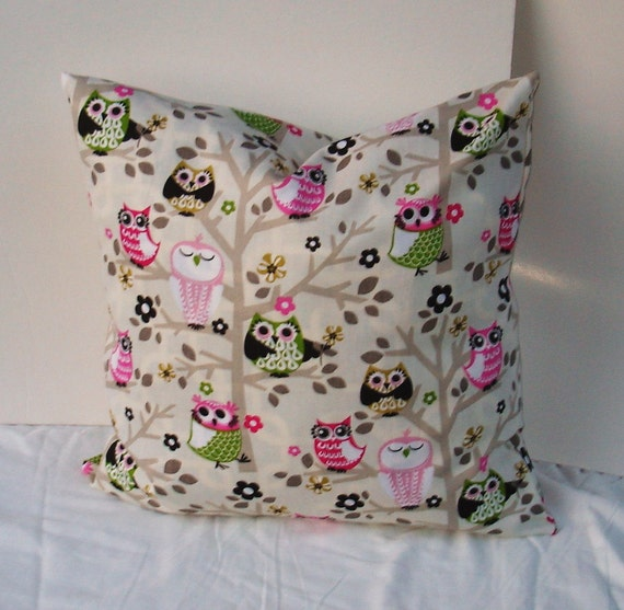 Owl Throw Pillow Etsy : OWL Decorative Pillow Cover-nursery-kids room-Designer Fabric