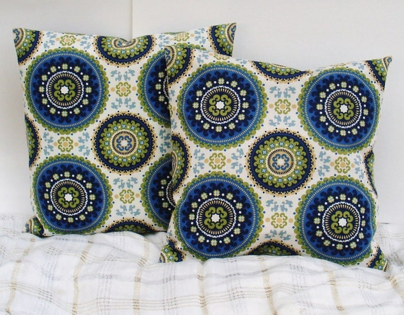Set of TWO  Rustic Medallion Decorative Pillow Covers--Designer Fabric IKAT -- 17 x 17 Blue-green-off-white