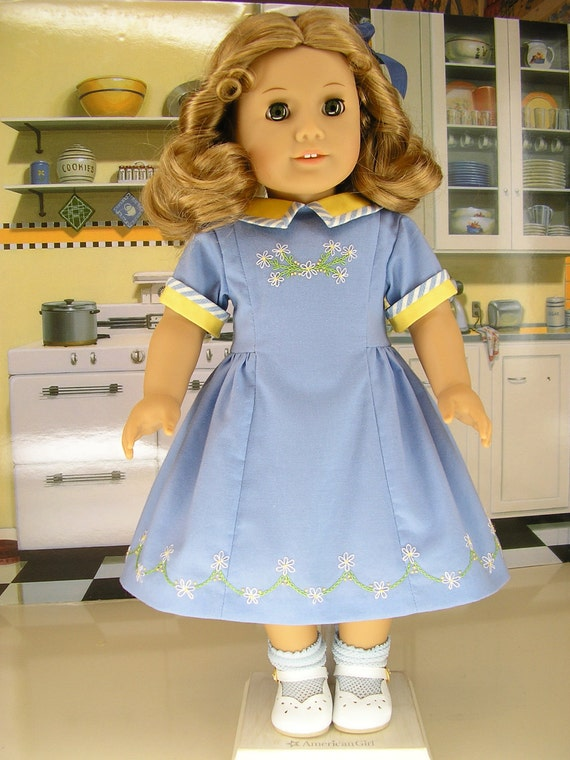 American Girl  vintage dress with extensive hand embroidery