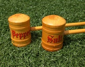 Retro 1960's BBQ Salt and Pepper Wooden Shakers with Long Handles