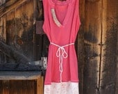 HoNeYSuCkLE SwEeT Cottage T Shirt Dress OOAK Eco Chic Hippy Up Cycled