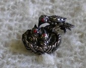 Vintage Bird Pin Sterling and Marcasite Birds in Nest 1940s West Germany