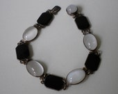 1920s Art Deco Black And White Sterling Moonstone Bracelet Black Enamel