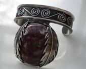 Vintage Native American Sterling Agate Cuff Bracelet 1970's