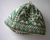 Holiday Breakfast Vintage Scandanavian Egg Warmer Embroidery Linen Egg Hat