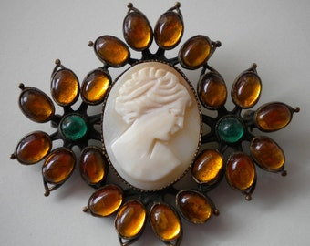 1920's Czech Brooch Cameo Topaz and Green Glass