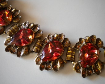 Vintage 1940's Judy Lee Bracelet Orange Golden Autumn Huge Rhinestones