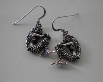 Vintage Sterling Mermaid Earrings 1980's Kabana Sterling