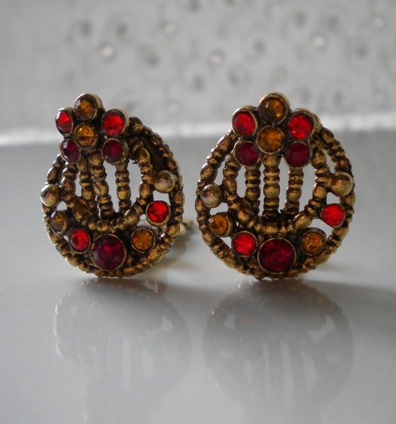 Florenza Multi Color Earrings Red Orange Golden Yellow Autumn Colors