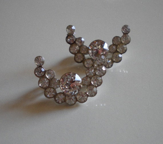 Vintage 50's Lingerie Pins Silver and Rhinestone