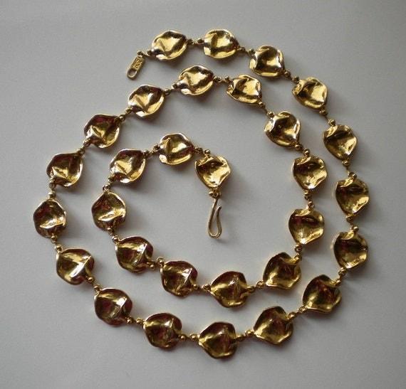 1980's Anne Dick Golden Bronze Organic Necklace Ceti Lost Wax Casting