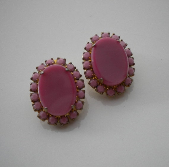 Pink Satin Glass Earrings Vintage 1950's
