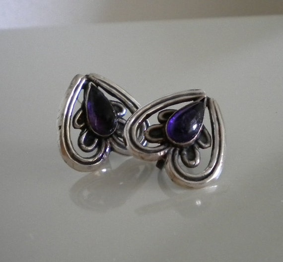 Vintage Mexican Silver Amethyst Earrings 1940's Hearts Teardrops