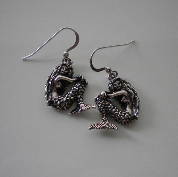 Vintage Sterling Mermaid Earrings 1980's Kabana Sterling