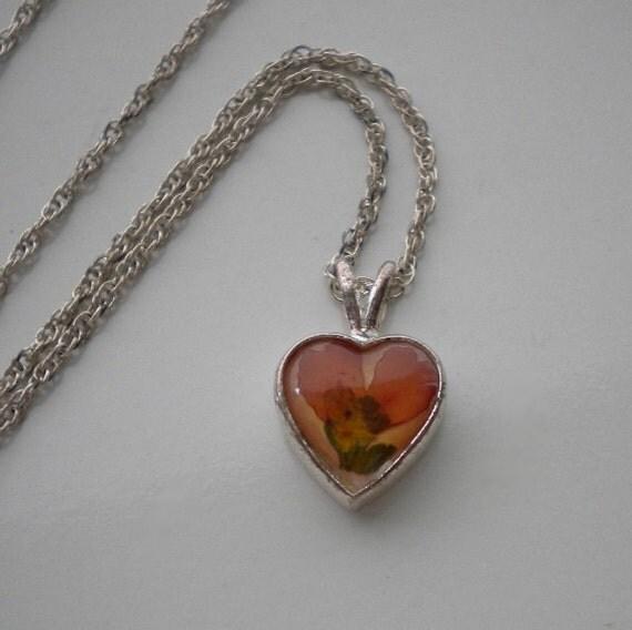 Vintage Sterling Heart Pendant Dried Flowers Autumn