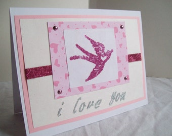 I Love You Valentine's Day Swallow Greeting Card