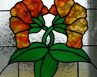 Orange Stained Glass Flowers, Window Panel, Summer Flowers, Home Decor, Decorative Glass Flowers,Window Art,Handmade Gift Idea, Window Decor