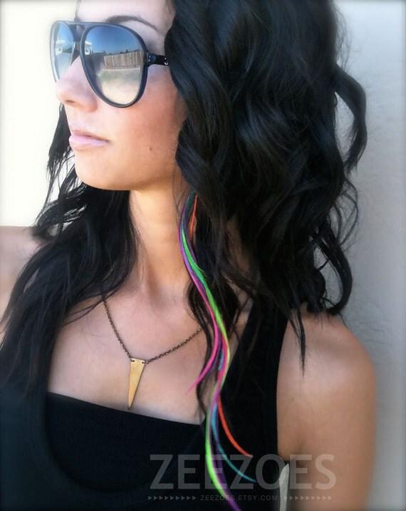 All Solid Rainbow 6 Feather Hair Extension (MEDIUM LENGTH)- Salon Grade