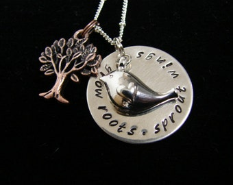Grow Roots Sprout Wings Necklace - with tree and bird charms