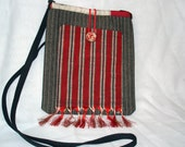 SALE Piccadilly cross body tote of vintage pinstripe flannel & vintage kimono silk