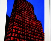 FREE SHIPPING - Hand Pulled Print - Building in Red No. 1 - 10x11.25
