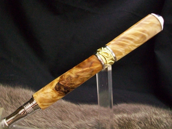 The Lady:  Natural Box Elder Burl Nouveau style roller ball pen