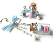 Too sweet to resist french inspired earrings- Miniature bottles filled with polymer clay macaroons